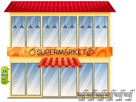 Un edificio del supermercato su sfondo bianco vettore