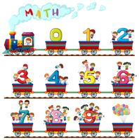 I bambini sul treno dei numeri vettore