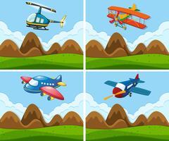 Una serie di aerei sul cielo