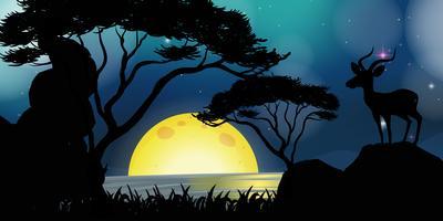 Scena silhouette con cervi in riva al lago vettore