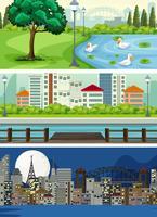 Set di vista urbana vettore