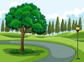 Un parco naturale verde vettore