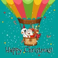 Cartolina di Natale felice con Babbo Natale sul palloncino vettore