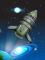 Astronave che vola nello spazio buio vettore