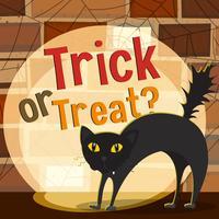 Tema di Halloween con gatto nero vettore