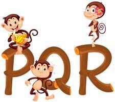 Scimmie sull'alfabeto inglese vettore