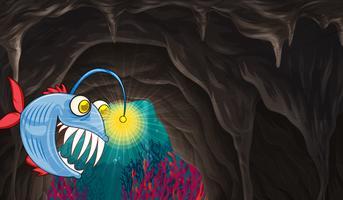 Mostro marino nuota sotto il mare vettore