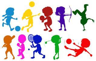 Schizzi colorati di bambini che giocano con i diversi sport vettore