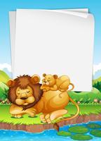 Disegno di carta con leone e cucciolo che dormono vettore