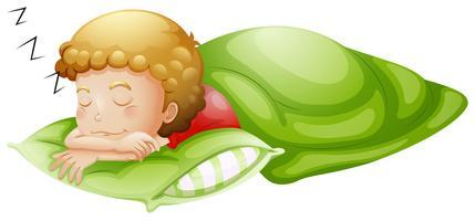Un ragazzino che dorme profondamente vettore