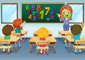 Insegnante di matematica che insegna in aula vettore