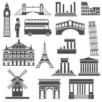 Icone nere del punto di riferimento di viaggio messe