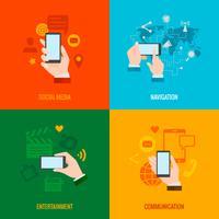 Composizione di icone piane di smart phone mano
