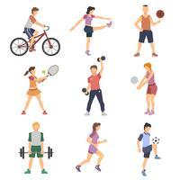 Set di icone piane di persone sportive vettore