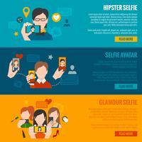 Set di banner selfie vettore