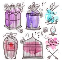 Set di gabbie e uccelli vettore