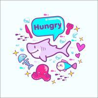 illustrazione vettoriale carino adesivo cartone animato squalo