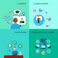Icona di formazione online piatta