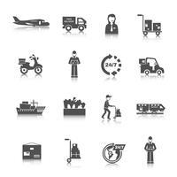 Icone di consegna nere vettore