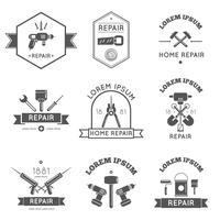 Etichette di strumenti di riparazione a casa piatta vettore