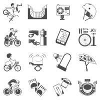 Icona di ciclismo set nero vettore