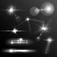 lens flares white vettore