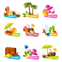 Set di emblemi della spiaggia vettore