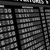 Scheda di partenza dell'aeroporto in prospettiva vettore