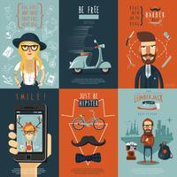 Manifesto di composizione icone piane di hipster vettore