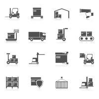 Icone di magazzino nere vettore
