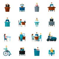Icone sedentarie piatte