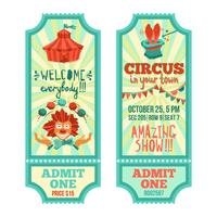 set di biglietti del circo