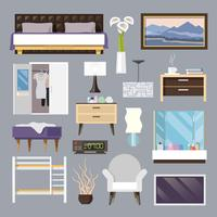 Set di icone piane di mobili camera da letto