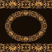 Cornice rotonda vuota e bordi. Stilizzazione tradizionale greca. In colore oro isolato su sfondo scuro. vettore