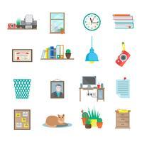 Set di icone sul posto di lavoro