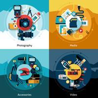 set di progettazione della fotocamera vettore