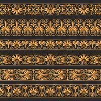 Bordi antichi dorati sullo sfondo marrone scuro.
