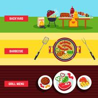 Set di banner per barbecue vettore