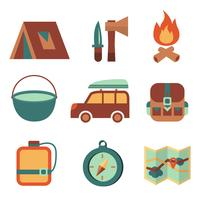 Set di icone piane di campeggio turismo all'aria aperta vettore