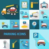 Icone di parcheggio piatte vettore
