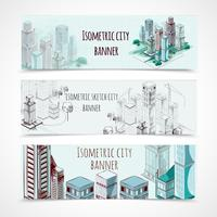 Banner isometrici per edifici vettore