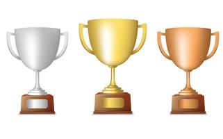 Set trofeo in bronzo dorato dorato vettore