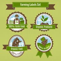 Farming harvesting and agriculture badge o set di etichette vettore