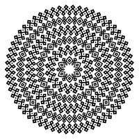 Trame senza giunte etniche monocromatiche. Forma rotonda vettoriale ornamentale isolato su bianco