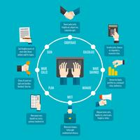Affari, mani, infographics vettore