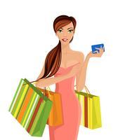 Donna con borse della spesa vettore