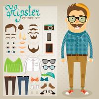 Pacchetto di caratteri hipster per ragazzo geek
