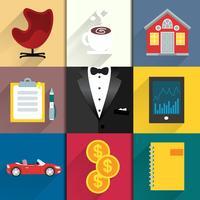 Set di icone per la vita di lusso con smoking
