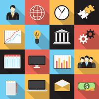 Set di icone generiche piatte di affari