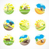Set di icone di agricoltura vettore